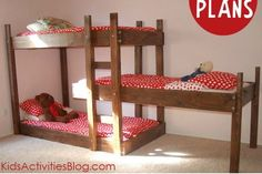 Free DIY bunk bed plans. Nice that they're low.