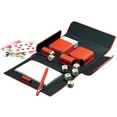 Giorgio Fedon 1919 Bridge/Poker Playing Cards Case ($190) ❤ liked on Polyvore featuring decor, fillers, home, misc and orange