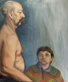 Unidentified Person in Multicolored Sweater Looks up at Bald Man with Paunch Bald Man, Bad Art, Looking Up, Caption, Sweater, Wall, Painting, Jumper, Sweaters