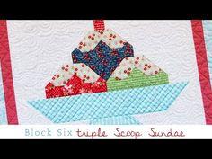 ▶ Snapshots Quilt Along Block Six: Triple Scoop Sundae Pattern – Fat Quarter Shop - YouTube