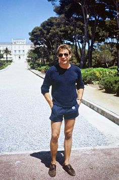 Harrison Ford wearing an E.T.-pin button on his shorts during the Cannes Film Festival, 1982. Mr Ford's then-wife, Melissa Mathison, was the screenwriter for E.T. the Extra-Terrestrial and Ford was in a scene where he played a principal, but the scene was cut.