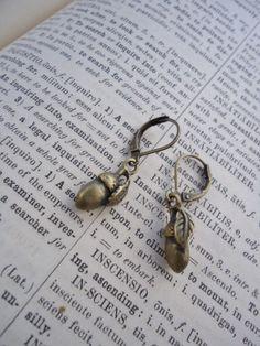 twee brass acorn earrings by ljctree on Etsy, $5.00