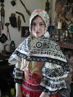 Europe | Portrait of a woman wearing tradinional clothes an headcarf, Czech republic #shawl