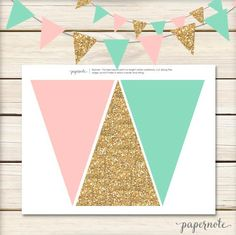 Pink, Mint and Gold Pendant Banner by papernote & co. This listing is for a high resolution Jpeg file with 3 flags per page to be cut to Horse Birthday, Unicorn Birthday, Girl Birthday, Birthday Diy, 10th Birthday, Party Decoration, Birthday Decorations, Gold Decorations, First Birthday Parties