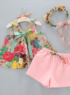 2017 New A Summer Girls Floral Printed Sleeveless Vest Tops +Shorts Sets Girls Kids Clothes Outfit Suits For - Kid Shop Global - Kids & Baby Shop Online - baby & kids clothing, toys for baby & kid Kids Outfits Girls, Toddler Outfits, Girl Outfits, Cheap Kids Clothes, Cute Baby Clothes, Short Niña, Short Set, Summer Shorts Outfits, Girl Clothing