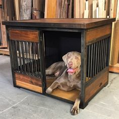 Most up-to-date No Cost Industrial Rustic Dog Crates Thoughts A secure area fo.Most up-to-date No Cost Industrial Rustic Dog Crates Thoughts A secure area for your dog A dog kennel is a great decision to provide your dogs secure quit durin Metal Dog Kennel, Dog Kennel Cover, Diy Dog Kennel, Dog Kennels, Kennel Ideas, Large Dogs, Small Dogs, Cage, Dog Crate Furniture