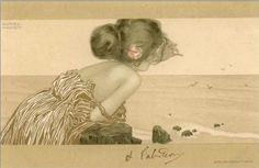Girls between brown-green borders - Raphael Kirchner
