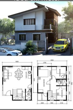 Small Home Design Plan with 4 Bedrooms - Home Plans - House Architecture Small House Layout, Modern Small House Design, House Layout Plans, Simple House Design, Minimalist House Design, House Layouts, Narrow House Designs, Minimalist Architecture, Two Story House Design