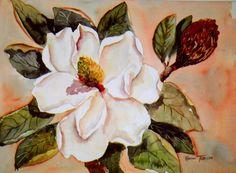 Magnolia Gold 11 x 15 Original watercolor by watercolorsNmore, $95.00