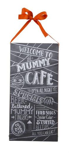 Mummys Cafe Chalk Sign. Spooky Halloween Party Menu. Halloween Chalk Board Decorations.