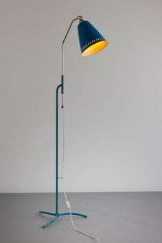 Anonymous; Brass and Enameled Metal Floor Lamp, c1955.
