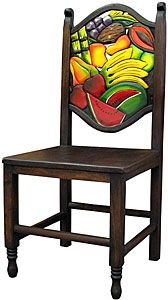This exquisitely hand-carved and hand-painted Fruit chair was created with pride by the renowned Perla furniture studio of Michoacan, Mexico. Imagine sitting down to a scrumptious south-of-the-border meal with your family and friends in these eye-catching chairs! A striking and colorful addition to your home decor, they're the perfect way to embrace your own Mexican or Southwestern spirit, and to bring out the interior decorator in all of us!    LaFuente.com