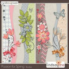 Passion for Spring Digital Scrapbook Borders. $2.00 at Gotta Pixel. www.gottapixel.net/