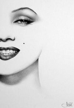 Marilyn Monroe Minimalism Original Pencil Drawing Fine Art Portrait Glamour Beauty. $129.99, via Etsy.