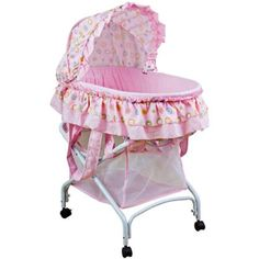 Dream On Me Layla 2-in-1 Bassinet to Cradle, Pink