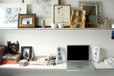 Use upholstery tacs to add style to plain white shelves. Jen Chu, Desire to Inspire