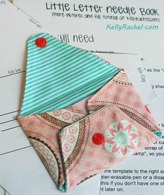 sweet little needle book; there is enough information in pictures on websites to make this without a tutorial, which I could not find.