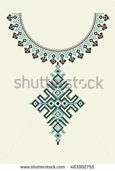 Vector Ethnic necklace Embroidery for fashion women. Pixel tribal pattern for print or web design. jewelry, necklace, print on fabric. Geometric Embroidery, Embroidery Works, Flower Embroidery Designs, Embroidery Motifs, Embroidery Fashion, Broderie Bargello, Jewellery Making Courses, Kutch Work, Jewelry Making Supplies