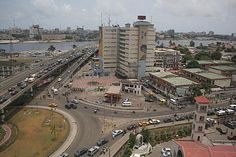 Bird's-eye view of the West Africa City of Lagos, Lagos State, Nigeria