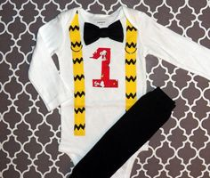Baby Boys First Birthday Charlie Brown Snoopy Bow Tie Bodysuit with Yellow and Black Suspenders and Black Leg Warmers-  Birthday, Photo Prop