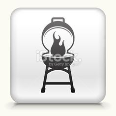Square Button with Barbecue royalty free vector art Royalty Free Stock Vector Art Illustration