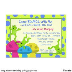 Frog Bounce Birthday Invitation This site is will advise you where to buyHow toOnline Secure Check out Quick and Easy. Online Invitations, Custom Invitations, Kids Birthday Party Invitations, Birthday Ideas, Best Birthday Gifts, Colored Envelopes, Envelope Liners, Paper Texture, Things That Bounce