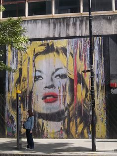 Graffiti, Mr Brainwash exhibition, Old West Central District Sorting Office, New Oxford Street WC1, Holborn, London. Kate Moss.