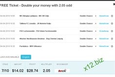 Make money with today FREE ticket with best 1x2 betting odds to play. Fixed matches from http://x12.biz