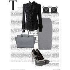 Working Girl by greylooks on Polyvore featuring polyvore, fashion, style, Jaeger, Yves Saint Laurent, MICHAEL Michael Kors and Eva Fehren