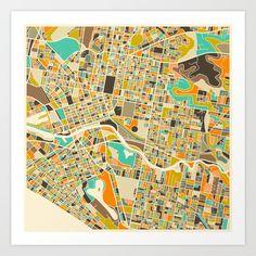 Melbourne+Map+Art+Print+by+Jazzberry+Blue+-+$19.00