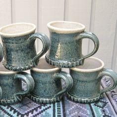 Five Mugs Handmade Pottery  Blue Stoneware by SharsArtPottery, $48.00