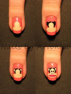 Paul Frank Nails!!! @Jess Pearl Pearl Pearl Pearl Pearl Liu Estrela Look at this!!! I want this nail!!