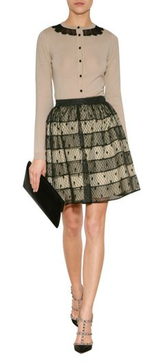 Styled with playful dot patterning, this sheer stripe skirt from RED Valentino lends elegant polish to dressed-up looks #Stylebop