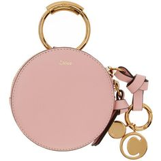 Chloé Pink Mini Round Coin Pouch ($350) ❤ liked on Polyvore featuring bags, wallets, pink, zip coin pouch, change purse wallet, loop wallet, zipper change purse and coin pouch