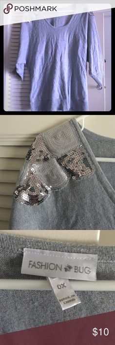 Grey Sweater Grey sweater with sequin shoulder design Fashion Bug Sweaters Crew & Scoop Necks