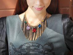 "Amazon.com: OKAJEWELRY Crystal Tassel Bib Statement Necklace Gold Tone, 15.16"": Clothing"