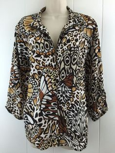 Zenergy Chicos 3 Zip Jacket L XL Animal Print Lightweight Stretch Beige Brown 16 #Chicos #BasicJacket