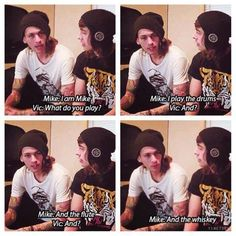 And the whiskey xD I love how vic is like guiding him lik he's a little kid:3 it's so sweet