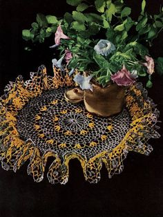 Delicate Crochet Ruffle Doily Pattern Retyped Large Print Pattern PDF # ST87-6 #crochet #crocheting #ideas #etsy #team #treasury #handmade #etsyseller