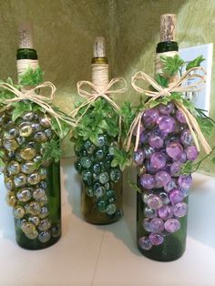 Vino! Made from empty wine bottles. Love this new decoration for my kitchen!