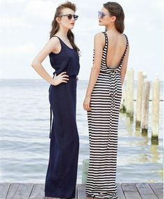 Scooped back striped dress