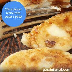 Para que puedas realizar esta receta de leche frita a tus hijos te ofrecemos la explicación paso a paso, escrita y en vídeo. http://www.guiainfantil.com/recetas/postres-y-dulces/leche-frita-receta-tradicional-paso-a-paso/