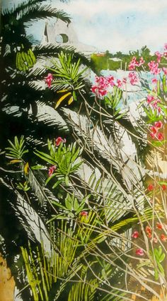 "variations on overgrown 1 harbour rd bermuda 22"" x 14""  micheal zarowsky / watercolour on arches paper / (private collection)"