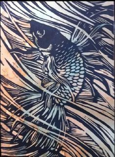 Hand Carved Linoleum Block Print - Beta Fish - Google'da Ara