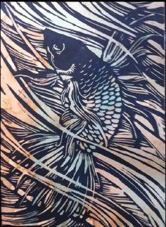 Hand Carved Linoleum Block Print - Beta Fish - Google'da Ara