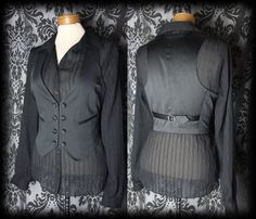 Gothic Black Button Detail KINDRED Waistcoat 10 12 Victorian Vintage Steampunk - £24.00