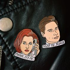 Mulder & Scully pins by Robin Eisenberg
