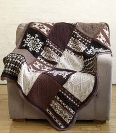 Free knitting pattern for Fireside Patchwork Afghan and more sampler knitting patterns
