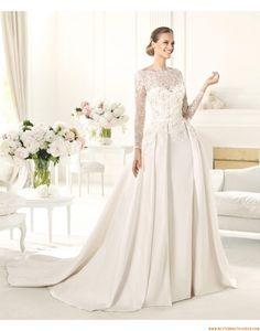 2015 A-linie Glamouröse Dramatische Brautkleider aus Satin mit Applikation