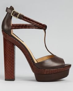 """Rachel Zoe """"Parton"""" T-strap sandal in dark brown.  I just bought these. They're sold out everywhere, so I was lucky to find them in my size.  I love the snakeskin-embossed leather and the """"70's chic"""" T-strap.  They'll go great with my new high-rise jeans from Madwell! Since I couldn't find the similar Tory Burch Vivian T-strap shoes I pinned earlier, these will do nicely instead.  The open toe makes them out of season right now, but they'll be great for Spring and Summer."""